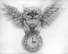 owl tattoo sketch; tweak for HP... standing on hallows symbol, incorporate lightning, and, etc.