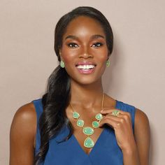 Mint Sorbet Necklace and Earring Set. Avon. Start new with a refreshing color! This gorgeous necklace and earring set features a fun minty color to complete any outfit. A refreshing blend of minty green stones with textured goldtone detail, just right for the new season! Complete the look with the bracelet and ring. Regularly $14.99. #CJTeam #Avon #Style #Sale #Jewelry #Fashion #C7 #GfitSet #Mint #Necklace #Earring #SpringBling #Spring #Avon4Me Shop Avon jewelry online @ www.TheCJTeam.com
