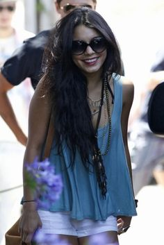 Vanessa Hudgens. Love her hippie chic casual style.