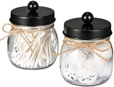 SheeChung Apothecary Jars Set,Mason Jar Decor Bathroom Vanity Storage Organizer Canister,Glass Qtip Holder Dispenser for Qtips,Cotton Swabs,Ball - Stainless Steel Lid/Brushed Nickel Apothecary Bathroom, Mason Jar Bathroom, Bathroom Red, Mason Jar Vases, Apothecary Jars, Glass Jars, Small Bathroom, Bathroom Ideas, Bath Ideas