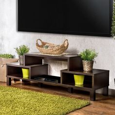 Contemporary TV Console Storage Modern Wood Veneer Lacquer Compartment Shelf #FurnitureofAmerica #ContemporaryModernTransitional #Storage #ModernFurniture #Furniture #CompartmentShelf #Shelf