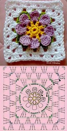 crochet granny square rose sExtremely beautiful and vibrant, this Free Daffodils Granny Square Crochet Pattern is simply amazing.Cute granny square with flower motif.Crochet Diagram Flowers - crochet owl of african hexagone chart. Crochet Flower Squares, Flower Granny Square, Crochet Motifs, Granny Square Crochet Pattern, Crochet Blocks, Crochet Diagram, Crochet Chart, Crochet Granny, Crochet Flowers