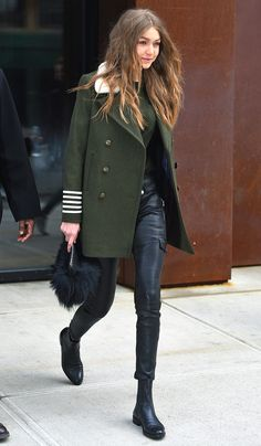 Gigi Hadid in a Tommy Hilfiger coat, leather pants and booties - click through for more celebrity outfit ideas