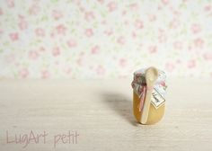 Honey jar with wood spoon for dollhouse by LugartPetit on Etsy