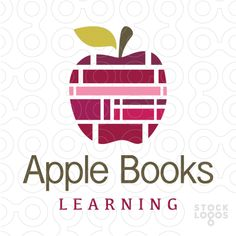 Logo for sale: Stacks of books are designed to create an apple shape.