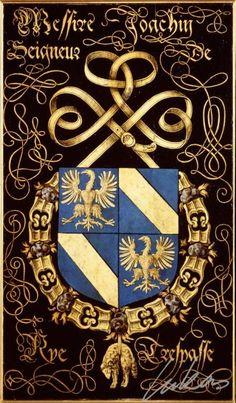 """(202) Joachim, sgr de RYE -- """"Messire Joachin, seigneur de Rye. Trespasse"""" -- Armorial plate from the Order of the Golden Fleece, 1559, Saint Bavo Cathedral, Gent -- Panneau de trépassé."""