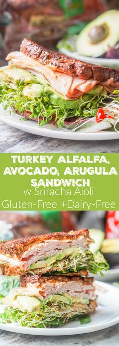 The best turkey arugula alfalfa and avocado sandwich youll ever eat Topped with a spicy Sriracha Aioli Boom Lunch is served Gluten Free Dairy Free too Healthy Recipes, Dairy Free Recipes, Gourmet Recipes, Cooking Recipes, Grill Recipes, Turkey Avocado Sandwich, Avocado Toast, Mayo Sandwich, Sprout Sandwich