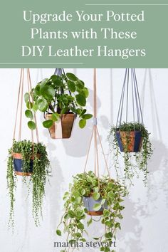 Create two different leather plant hangers: one with a cuff-style wrap, and one with vertical straps, with our step-by-step tutorials for a modern hanging planter. Plus, both designs are simple and sustainable to make. #marthastewart #crafts #diyideas #easycrafts #tutorials #hobby Hanging Plants Outdoor, Diy Hanging, Hanging Basket, Diy Planters, Hanging Planters, Hanging Gardens, Potted Plants, Indoor Plants, Porch Plants