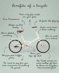 Cute graphic with the benefits of getting on that bicycle. oh yeeeeeahhhh.