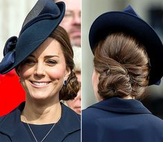 Side Chignon The pregnant Duchess, whose second child is due April 2015, selected an intricately woven updo, pinned to one side, for a 2015 church service in London.