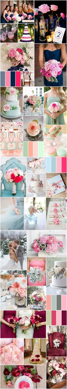 Pink Wedding Colors-pink & navy, pink & mint green, pink & blue, pink & gray, pink and burgundy