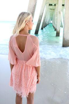 Summer Romance Pink Lace Quarter Sleeve Dress – Amazing Lace