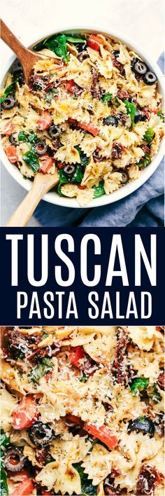 Pasta Salad Tuscan Pasta Salad is an easy pasta salad with sun dried tomatoes, peppers spinach, and olives tossed in a tangy dressing. This pasta salad is perfect for your next potluck!Tuscan Pasta Salad is an easy pasta salad with sun dried tomatoes, pep Salad Recipes For Dinner, Dinner Salads, Potluck Salad, Lunch Recipes, Appetizer Recipes, Breakfast Recipes, Dessert Recipes, Vegetarian Recipes, Cooking Recipes