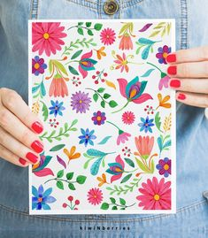 Mexican floral art - Mexican folk art - Mexico colors - Modern wall art - Mexican wall art - Colorful flower print - Otomi embroidery - Top Of The World Do Pi Ke Mexican Embroidery, Embroidery Art, Flower Prints, Flower Art, Mexican Wall Art, Posca Art, Arte Floral, Art Mural, Art Art