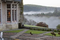 Hotel Endsleigh the view of the valley from the parterre.- with mist