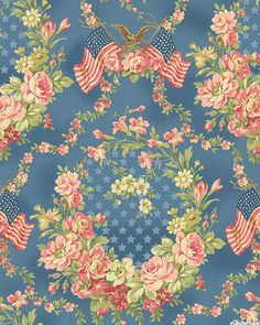 Faded Splendor - Grand Old Flag - Cadet Blue - Quilt Fabrics from www.eQuilter.com