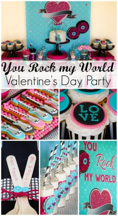 """How fun is this """"You Rock my World"""" kids Valentine's Day party! See more party ideas at CatchMyParty.com. #valentinesday #partyideas #rockstar"""
