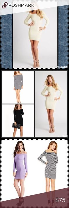 Guess cream body-con dress NWT. This listing is for the CREAM color. Body hugging off shoulder sweater dress. Second pic is of actual dress. Last pics show alternate colors. I also have BLACK available. See other listing. 💖 Guess Dresses