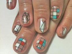geometric nail art. I could never nail this look. Ok that was bad! Lol