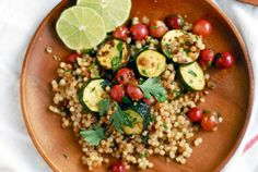 toasted couscous salad with zucchini and grapes
