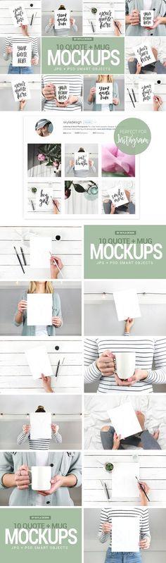 Quote and mug mockup bundle by Skyla Design on @creativemarket  Lettering, calligraphy, design mockup   #affiliate
