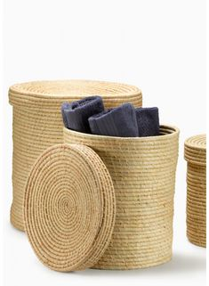 Natural Raffia Baskets With Lids