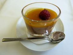 Crunchy Chocolate Mousse with Mango Sauce!  Looks delectable, and exquisite!