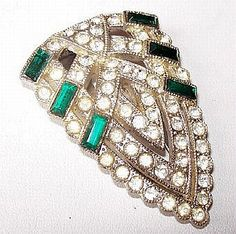 Up for your consideration is this Art Deco Fur Dress Clip Brooch Signed GOODY Green & Clear Ice Rhinestones Silver Metal 2 in #Vintage presented by Brightgems Treasures.   V... #jewelry #vintage #teamlove #etsy