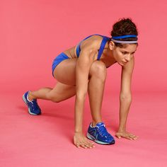 Lunge to Push-Up: Stand with feet hip-width apart, hands on hips. Step forward with right leg and lower into a lunge, both knees bent 90 degrees. Lean forward over right thigh and place hands on floor on either side of right foot. Step right foot back so that you're in full push-up position. Hold push-up position for 1 count. Bring right foot forward again, rise up into a lunge and step back to return to start. Switch legs and repeat. Do 10 reps, alternating sides.