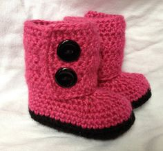 Crochet Baby Booties- Raspberry Baby Boots on Etsy, $20.00