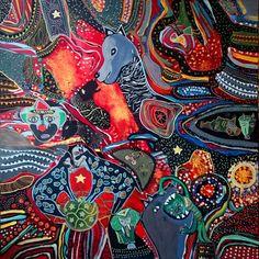 Le feu de la piste - Peinture,  80x80 cm ©2016 par Philippe ABRIL -                                                            Art naïf, Toile, Cultures du monde, Cirque, circatien, animaux, numéros, clown triste, lumière, feu, piste, acrobate, fauves, zoo