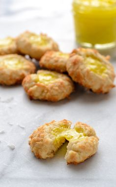 Lemon Coconut Thumbprint Cookies. Easy recipe that uses lemon pie filling for the center