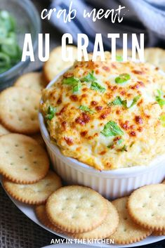 Hot Crab Dip, or Crab Meat au Gratin, is a southern Louisiana recipe loaded with succulent crab-meat, cheeses and savory spices, ready in under 30 minutes! Seafood Appetizers Seafood Appetizers Appetizers Appetizers for a crowd Appetizers parties Hot Appetizers, Holiday Appetizers, Holiday Recipes, Delicious Appetizers, Holiday Parties, Seafood Appetizers, Seafood Platter, Holiday Treats, Christmas Recipes