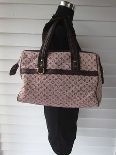 AUTH Louis  Vuitton Mini Lin Josephine GM Monogram Cerise Pink Canvas bag purse #LouisVuitton #HandBag