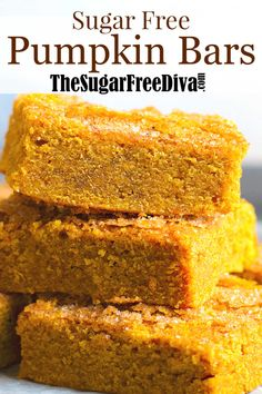 These delicious and easy to make Sugar Free Pumpkin Bars are the perfect fall time treat or dessert. Diabetic Friendly Desserts, Diabetic Recipes, Low Carb Recipes, Splenda Recipes, Diabetic Cake, Flour Recipes, Sugar Free Deserts, Sugar Free Recipes, Sugar Free Vegan Desserts