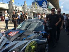 Patrick Dempsey and Joe Foster with their LeMans car.