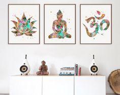 Buddha watercolor print set, yoga wall decor, meditation art, printable buddhist home decor, digital file - SHOP - Miao Miao Design -