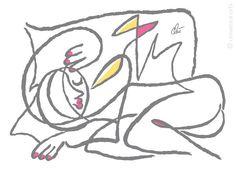 JACQUELINE DITT - Oder schläft sie ..? grey.A3 handsigniert ltd.Original Grafik