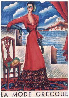 Νίκος Εγγονόπουλος;] Εξώφυλλο του περιοδικού «La Mode Greque», την Aνοιξη-Καλοκαίρι του 1940/Πελοποννησιακό Λαογραφικό Ίδρυμα (Peloponnesian Folklore Foundation) Painter Artist, Artist Art, Bistro Design, 1940s Fashion Women, Greece Painting, 1940s Woman, Greek Fashion, Fashion Cover, Women's Fashion