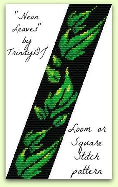 NEON LEAVES LOOM OR SQUARE STITCH CUFF is an In the Raw Design that has NOT been stitched.  BRACELET PATTERN SPECIFICATIONS:  SKILL LEVEL: Novice to Advanced  STITCH TECHNIQUE: Loom or Square Stitch  LENGTH: 100 Rows (about 6.88)  WIDTH: 31 Columns (about 1.64)  SPECIAL INFO: Some of the colors in this image are slightly different in real life  BEADS REQUIRED: Miyuki 11/0 Delica Seed Beads  COLORS REQUIRED: 8  Please note my patterns do not include instructions on how to do Loom or Square…
