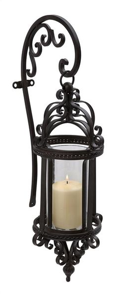 Tuscan Wrought Iron Hanging Wall Lantern/Candle Sconce - Favorite Things Home Decor Lantern Candle Holders, Wall Lantern, Candle Lanterns, Candleholders, Candle Lamp, Hanging Candles, Candle Wall Sconces, Wall Sconce Lighting, Hallway Sconces
