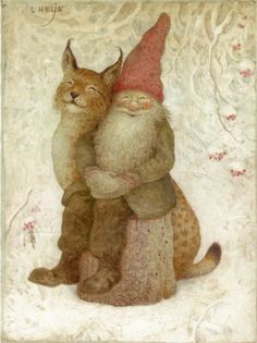 dahliafyodorovna:  Artwork by Lennart Helje I Painter, illustrator, born in 1940. in Lima.He paints Christmas cards with elves in snowy lan...