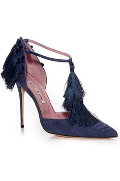 Manolo Blahnik Dark Blue Tassel Sandal Spring-Summer 2014 #Manolos #Shoes #Heels                                                                                                                                                                                 Más