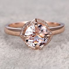 6.5mm Round Cut Morganite and Diamond Engagement Ring 14k Rose gold Claw Prongs Floral