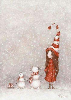 Christmas illustration, snowman, little girl, sled, Noel Christmas, Christmas Pictures, All Things Christmas, Winter Christmas, Vintage Christmas, Christmas Crafts, Christmas Decorations, Christmas Ornaments, Xmas