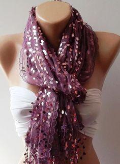 Lilac Purple  Turkish Shawl  Scarf by womann on Etsy, $23.90