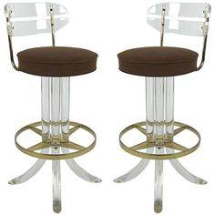 Lovely Lucite and Brass Bar Stools