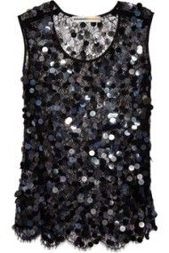 Clements Ribeiro: Sequined cobweb lace tank