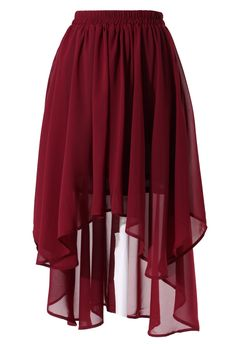 Wine Red Asymmetric Waterfall Skirt - Retro, Indie and Unique Fashion