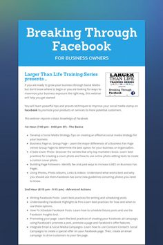 Breaking Through Facebook for Business Owners!